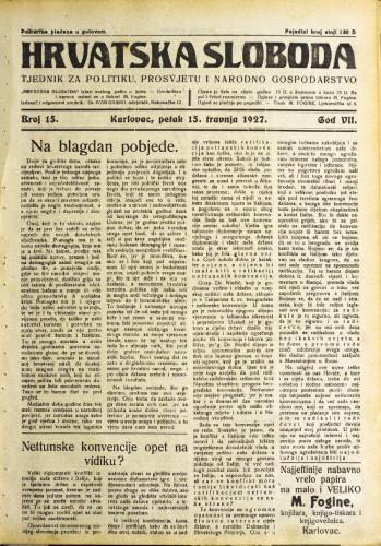 Hrvatska sloboda: 1927. • 15