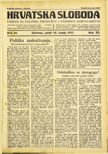 Hrvatska sloboda: 1927. • 29