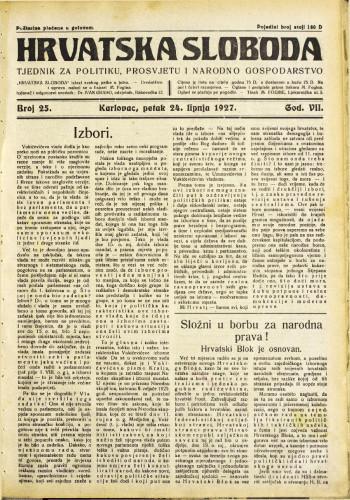 Hrvatska sloboda: 1927. • 25