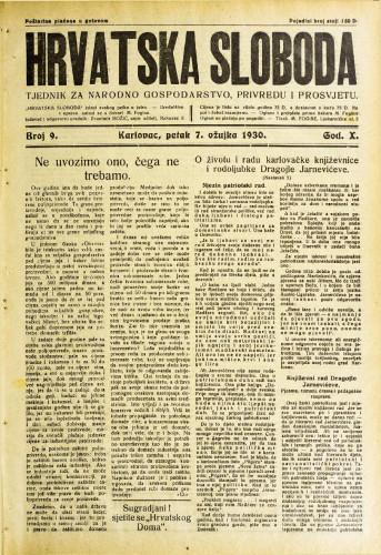 Hrvatska sloboda: 1930. • 9