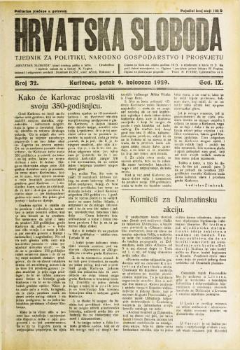 Hrvatska sloboda: 1929. • 32