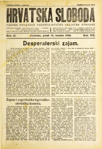 Hrvatska sloboda: 1928. • 15