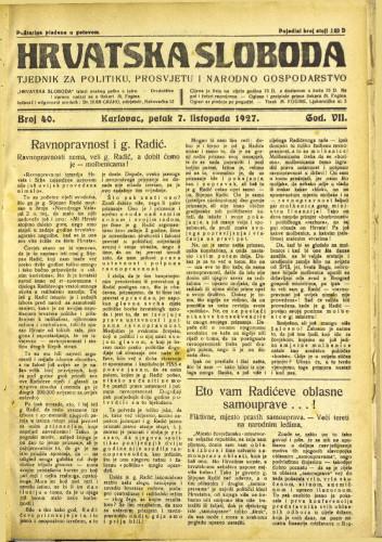 Hrvatska sloboda: 1927. • 40