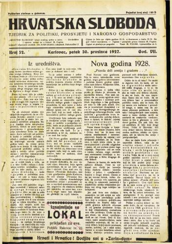 Hrvatska sloboda: 1927. • 52