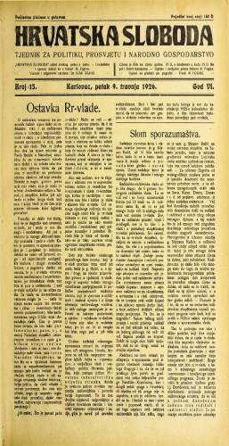 Hrvatska sloboda: 1926. • 15