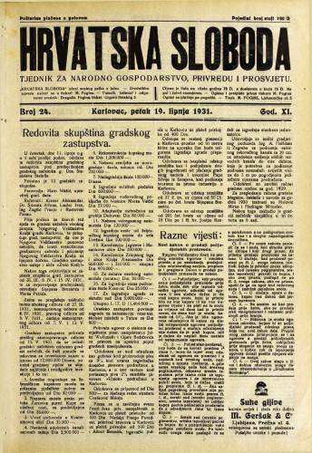 Hrvatska sloboda: 1931. • 24