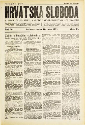 Hrvatska sloboda: 1931. • 36