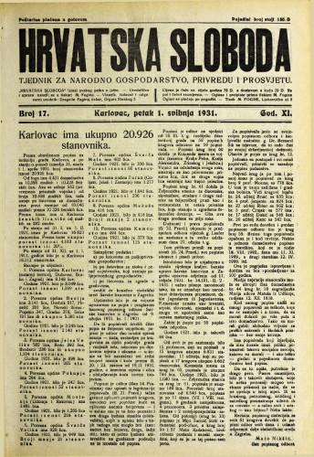 Hrvatska sloboda: 1931. • 17