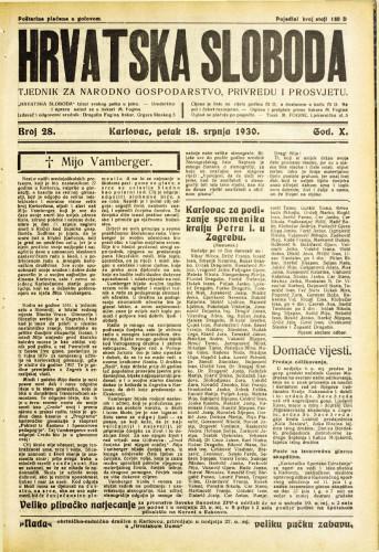 Hrvatska sloboda: 1930. • 28