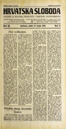 Hrvatska sloboda: 1925. • 26