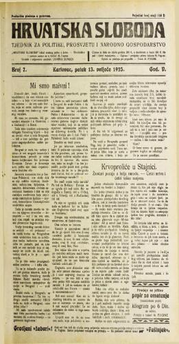 Hrvatska sloboda: 1925. • 7