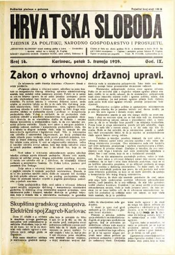 Hrvatska sloboda: 1929. • 14