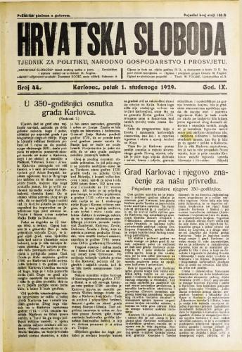 Hrvatska sloboda: 1929. • 44