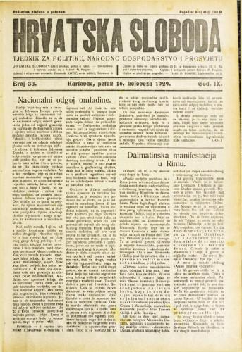Hrvatska sloboda: 1929. • 33