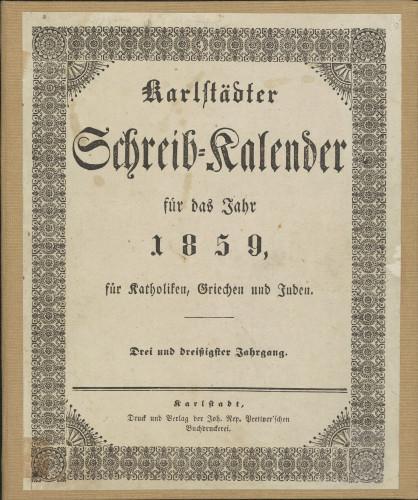 Karlstädter Schreib - Kalender – 1859.