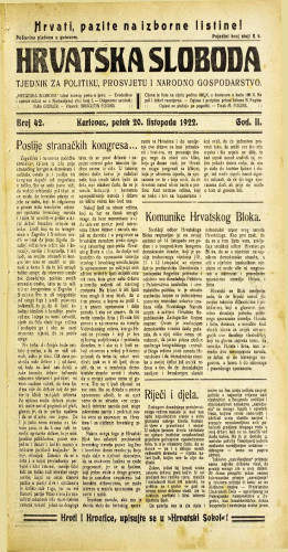 Hrvatska sloboda: 1922 • 42