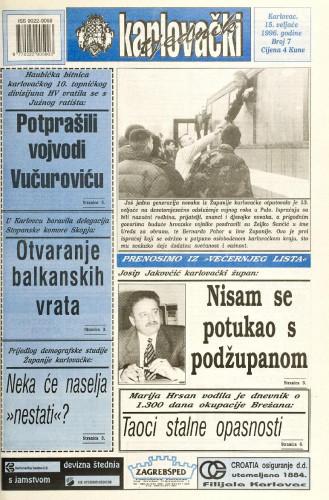 Karlovački tjednik: 1996 • 7