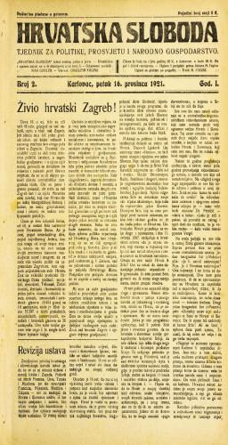 Hrvatska sloboda: 1921 • 2