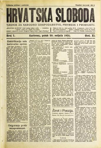 Hrvatska sloboda: 1931. • 7