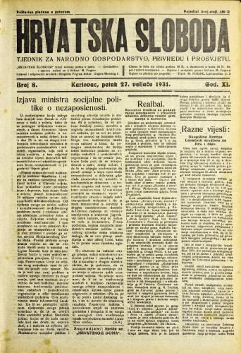 Hrvatska sloboda: 1931. • 8