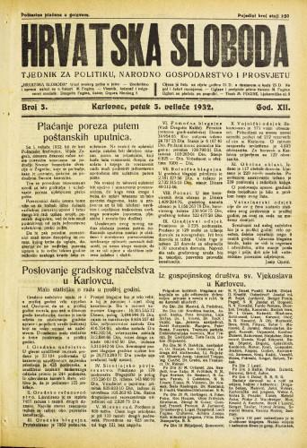 Hrvatska sloboda: 1932. • 5