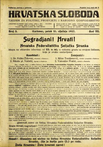 Hrvatska sloboda: 1927. • 3