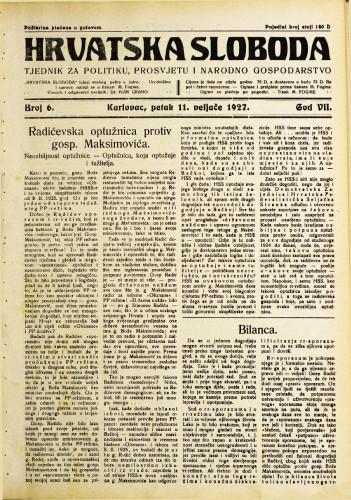 Hrvatska sloboda: 1927. • 6