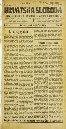 Hrvatska sloboda: 1926. • 1