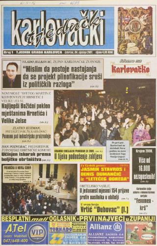Karlovački tjednik: 2001 • 1