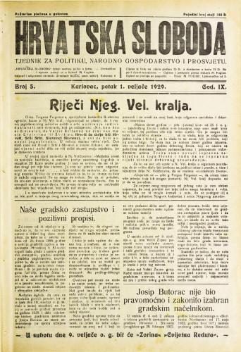 Hrvatska sloboda: 1929. • 5