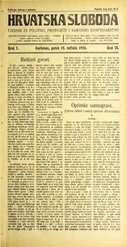 Hrvatska sloboda: 1926. • 7