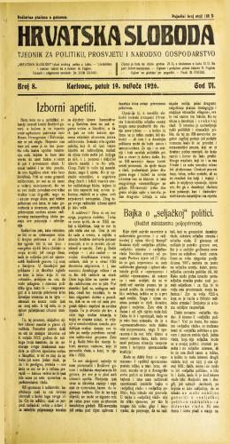 Hrvatska sloboda: 1926. • 8