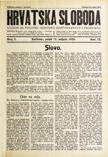 Hrvatska sloboda: 1929. • 7