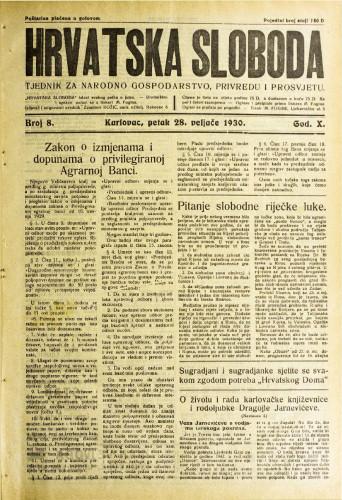 Hrvatska sloboda: 1930. • 8
