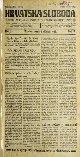 Hrvatska sloboda: 1925. • 1