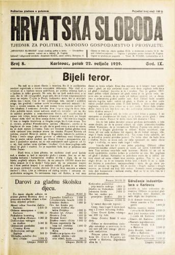 Hrvatska sloboda: 1929. • 8