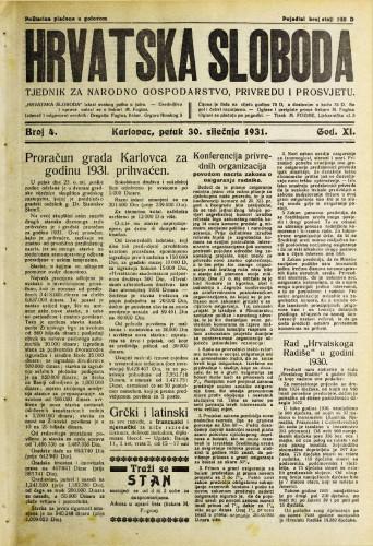 Hrvatska sloboda: 1931. • 4